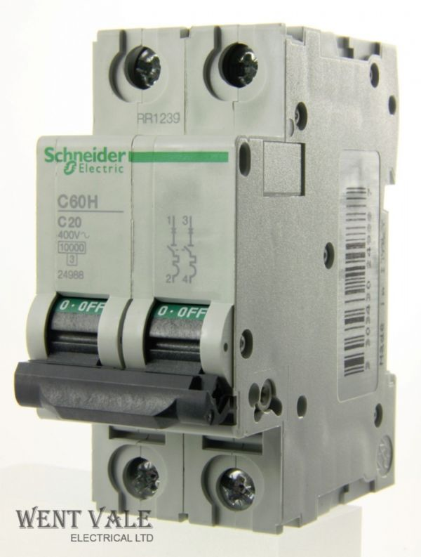 Schneider - Multi 9 - C60HC220 - 20a Type C Double Pole MCB New